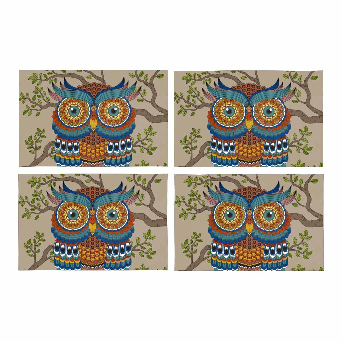 InterestPrint Gorgeous Owl In The Tree Cartoon Animal Placemat Place Mat Set of 4, Table Place Mats for Kitchen Dining Table Restaurant Home Decor 12''x18''