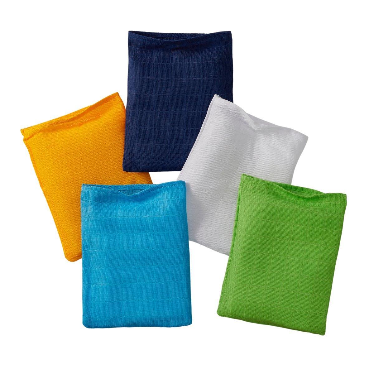 Bornino 5er-Pack Mullwaschlappen/Waschlappen / 15x20 cm / 100% Baumwolle in Webqualität/bunt