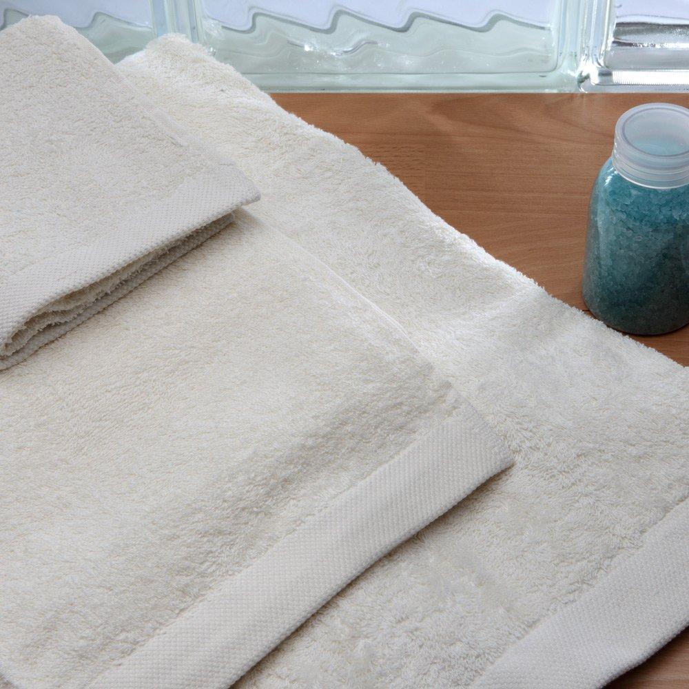 Burrito Blanco Juego de Toallas de Baño Lisas 3 Piezas (1 toalla de Ducha de 70x140 cm, 1 Toalla de Mano de 50x100 cm y 1 Toalla de Bidet de 30x50 cm) Algodón 100%, Color Crudo