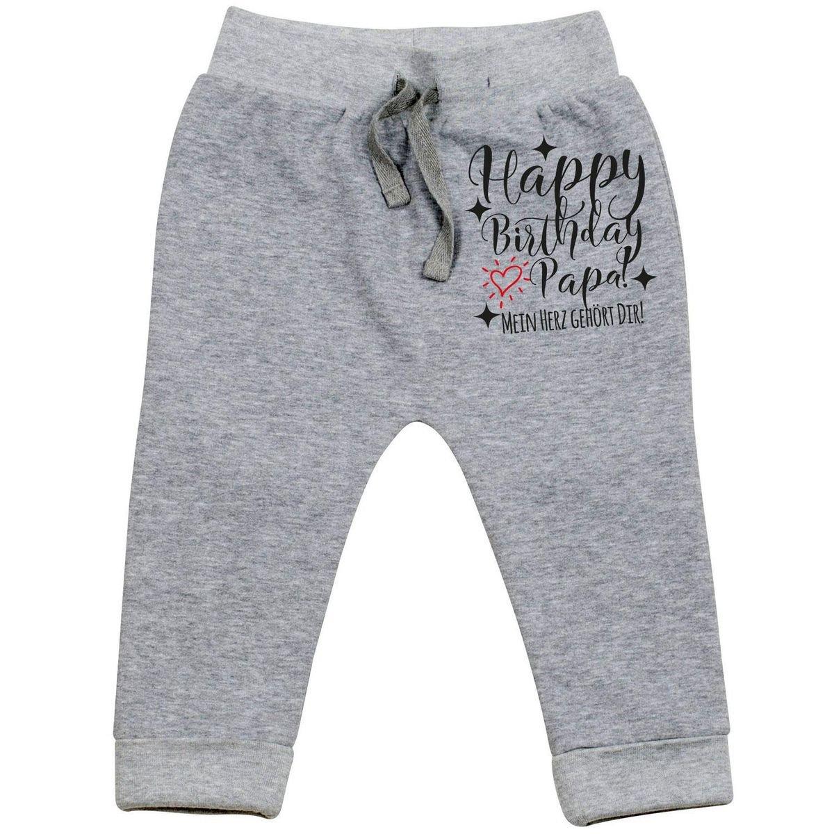 Mikalino Baby Jogginghose Happy Birthday Papa! Mein Herz gehört Dir!