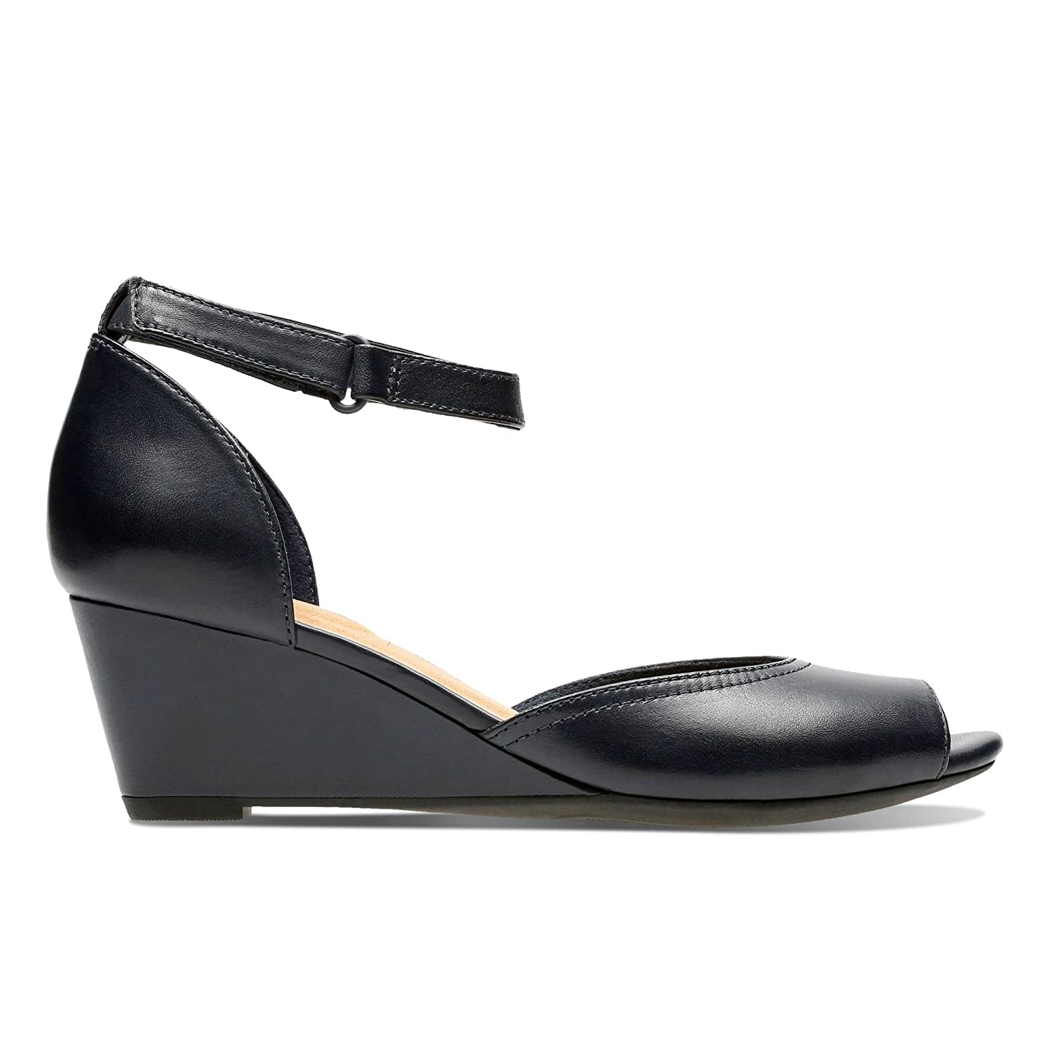 3fbc48aa877 Clarks Flores Raye Leather Sandals in Navy Standard Fit Size 4   Amazon.co.uk  Shoes   Bags