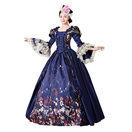 af3b583bc71 Women Lace Printed Marie Antoinette Dress Southern Belle Victorian Period  Ball Gown Reenactment Clothing at Amazon Women s Clothing store