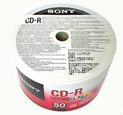 image about Printable Blank Cds known as Sony 50 Pack Blank CD-R CDR White Inkjet Hub Printable 48X 700MB 80min History Media Disc