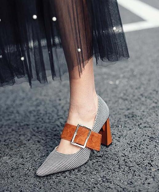 92e3cedfd51 Zapatos de Tacón Alto para Mujeres Zapatos de Punta Estrecha Desnudos Negro/Marrón  Talla 34-39 (Color : Marrón, Tamaño : 39): Amazon.es: Zapatos y ...