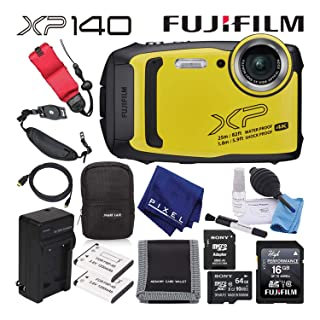 Fujifilm FinePix XP140 Waterproof Digital Camera (Yellow) Advanced Accessory Bundle with 64GB Memory Card + Extra Battery + Battery Charger + Floating Wrist Strap