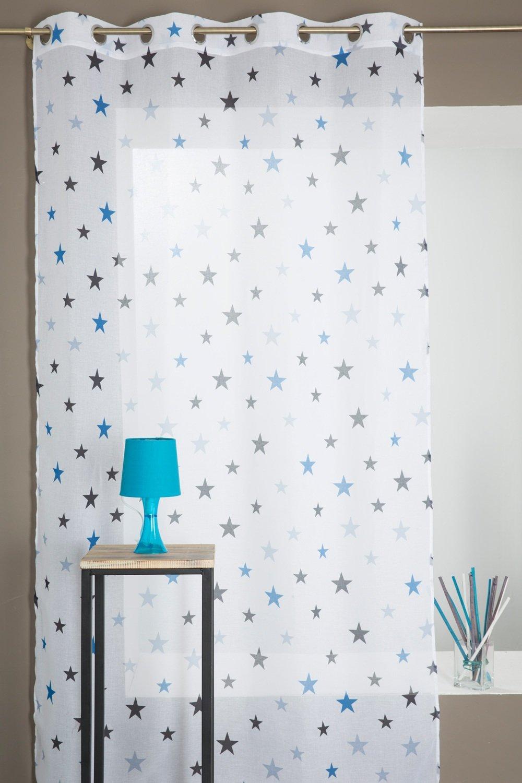 RideauDiscount Voilage Chambre Enfant Motif Étoile Bleu: Amazon.fr ...