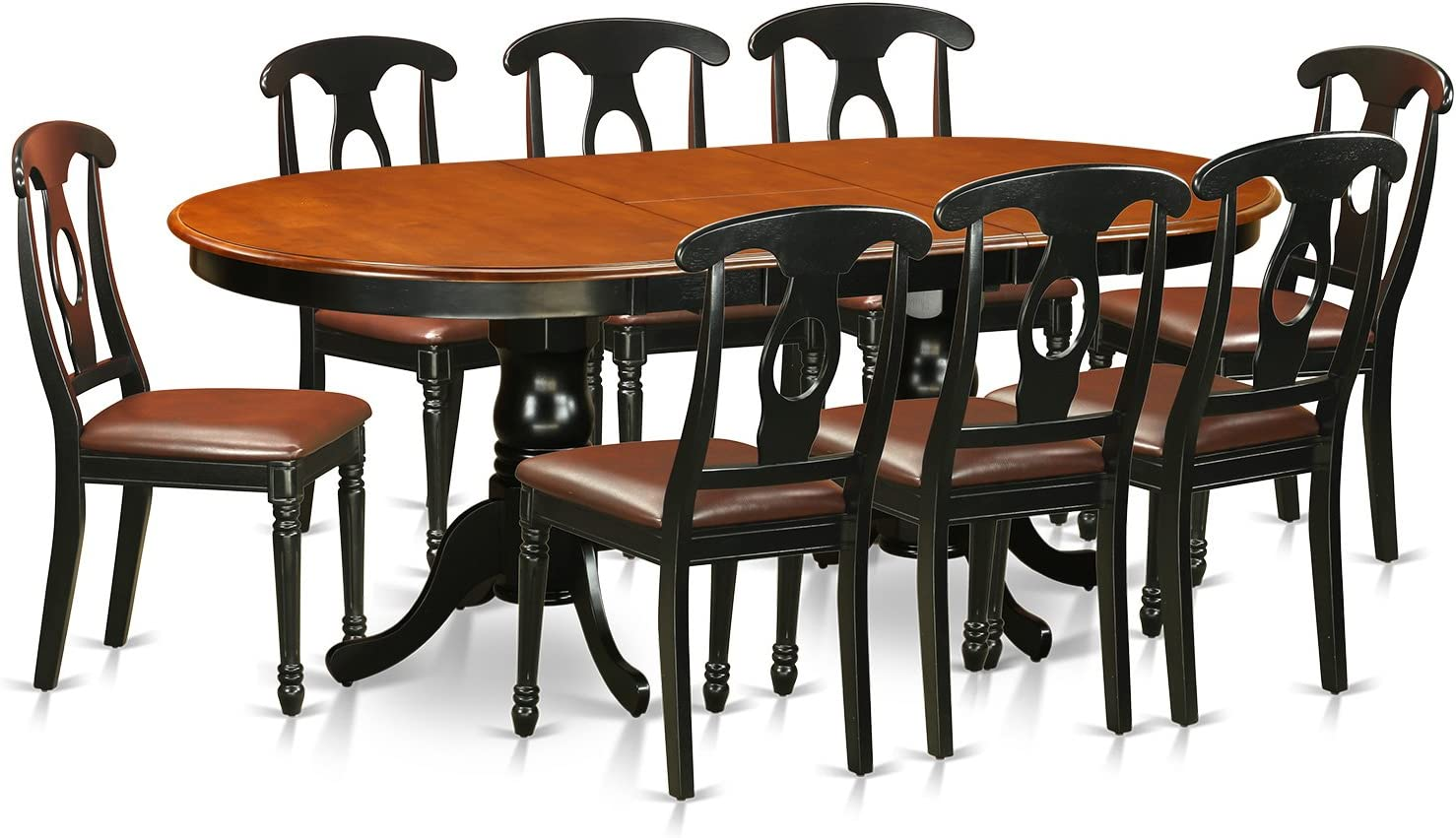 PLKE9-BCH-LC 9 Pc Dining room set-Dining Table with 8 Wooden Dining Chairs