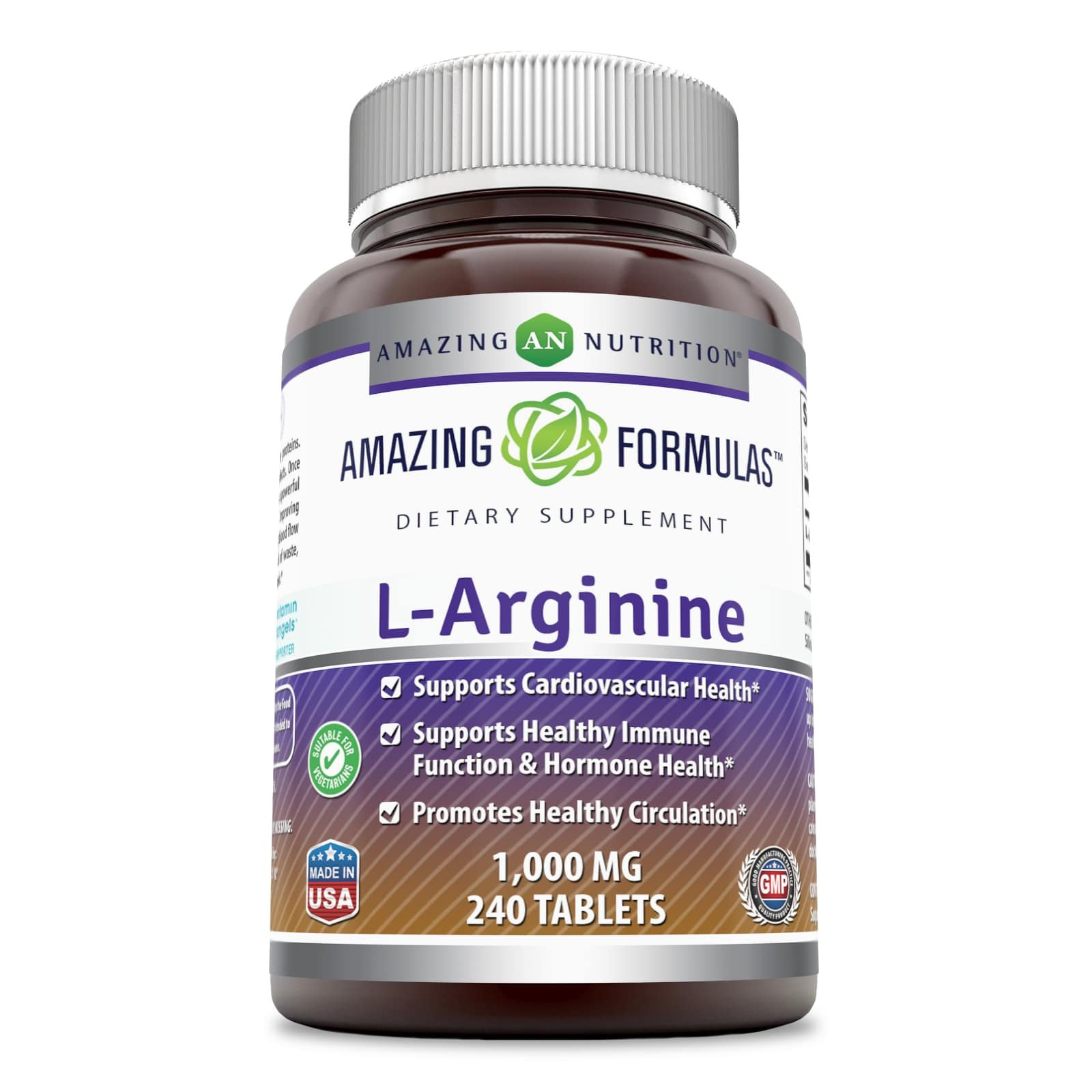 Amazing Formulas L-Arginine - 1000 Mg, 240 Tablets - Supports Cardiovascular Health - Supports Immune Function - Promotes Healthy Circulation.