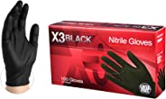 Ammex X3 Industrial Black Nitrile Gloves - 3 mil, Latex Free, Powder Free, Textured, Disposable, Large, BX346100-BX, Box of