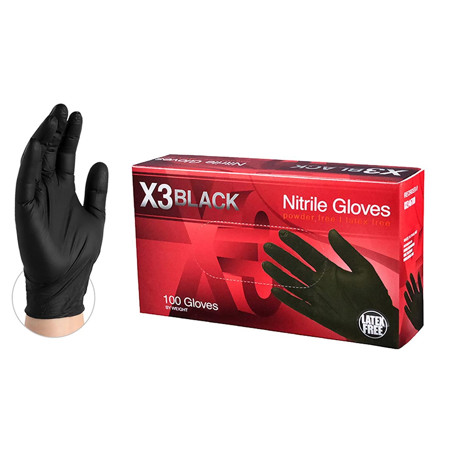 B0112VMC3I Ammex X3 Industrial Black Nitrile Gloves - 3 mil, Latex Free, Powder Free, Textured, Disposable, Medium, BX344100-BX, Box of 100 71WA30VKD4L