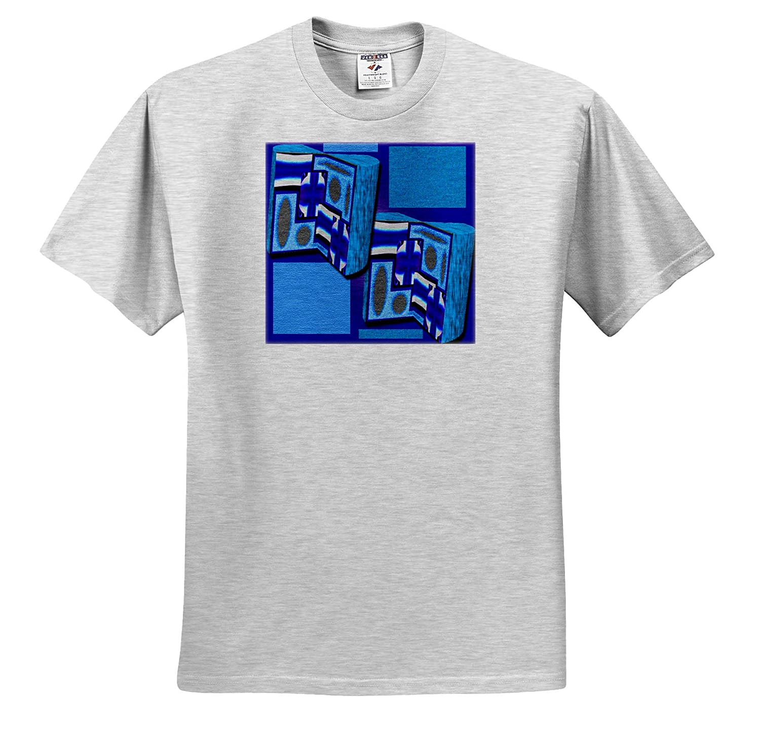 3 Dimensional Shapes Made from Art on Blue and Dark Blue 3D Art Layered and Textured T-Shirts 3dRose Jos Fauxtographee