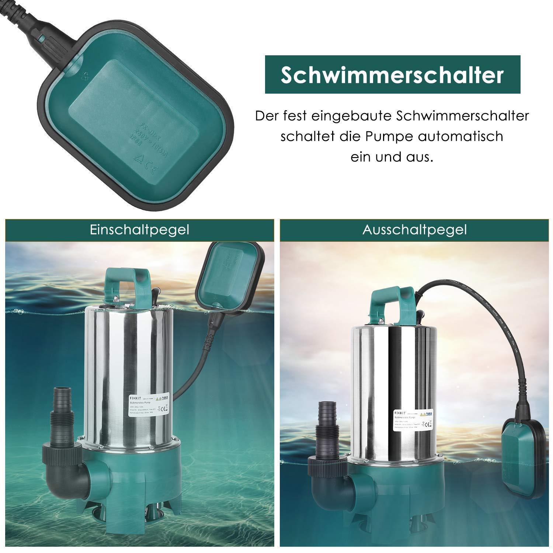 Max Hauteur de Refoulement 9 m FIXKIT 1100W Pompe Submersible Particule Maximum Passable est de 35mm C/âble dalimentation 10 m Pompe d/évacuation pour Eaux Charg/ées 20000L//H Corps en INOX