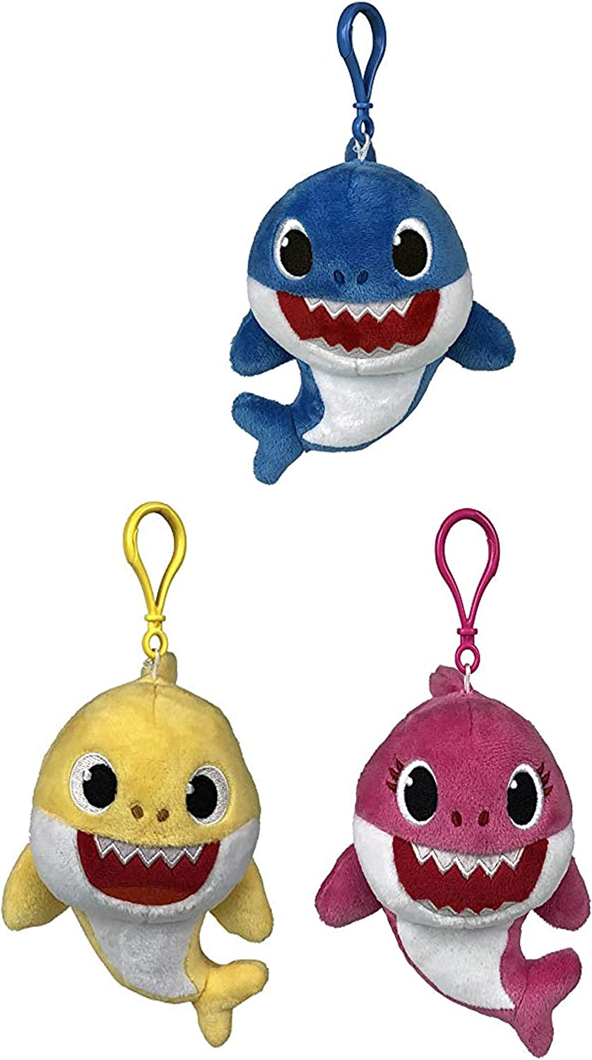 Pinkfong Baby Shark Plush Keychain Set - Baby Shark, Mommy Shark, Daddy Shark Mini Keychain Plush Stuffed Animal Clip for Bags, Lunch Boxes, Backpacks