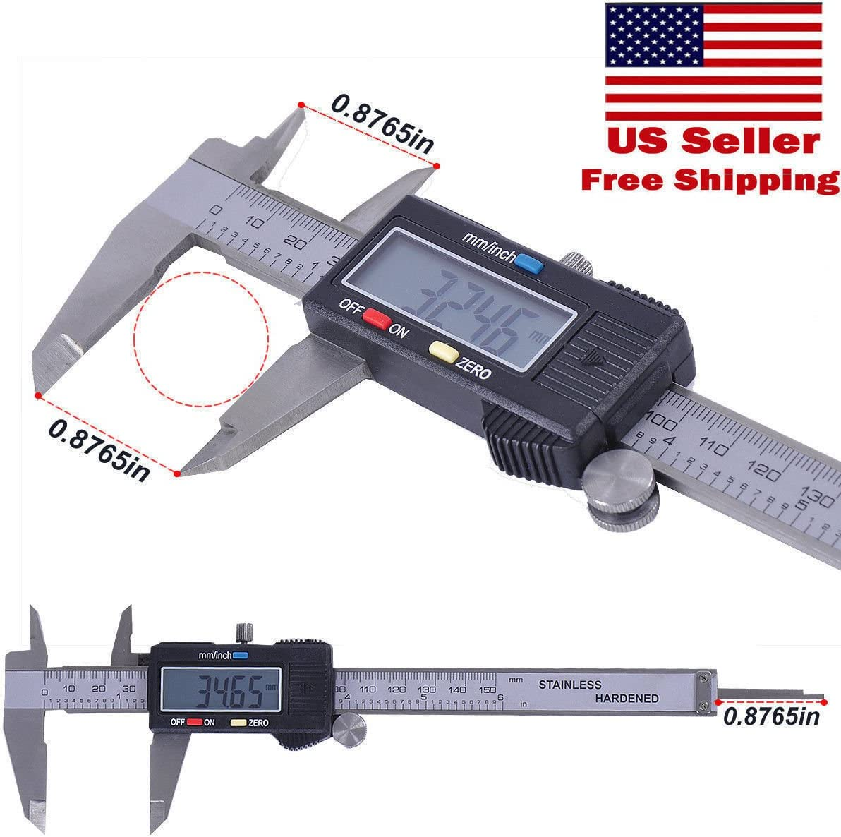 150mm 6/'/' Digital Vernier Caliper Stainless Steel LCD Electronic Gauge mm//inch//F