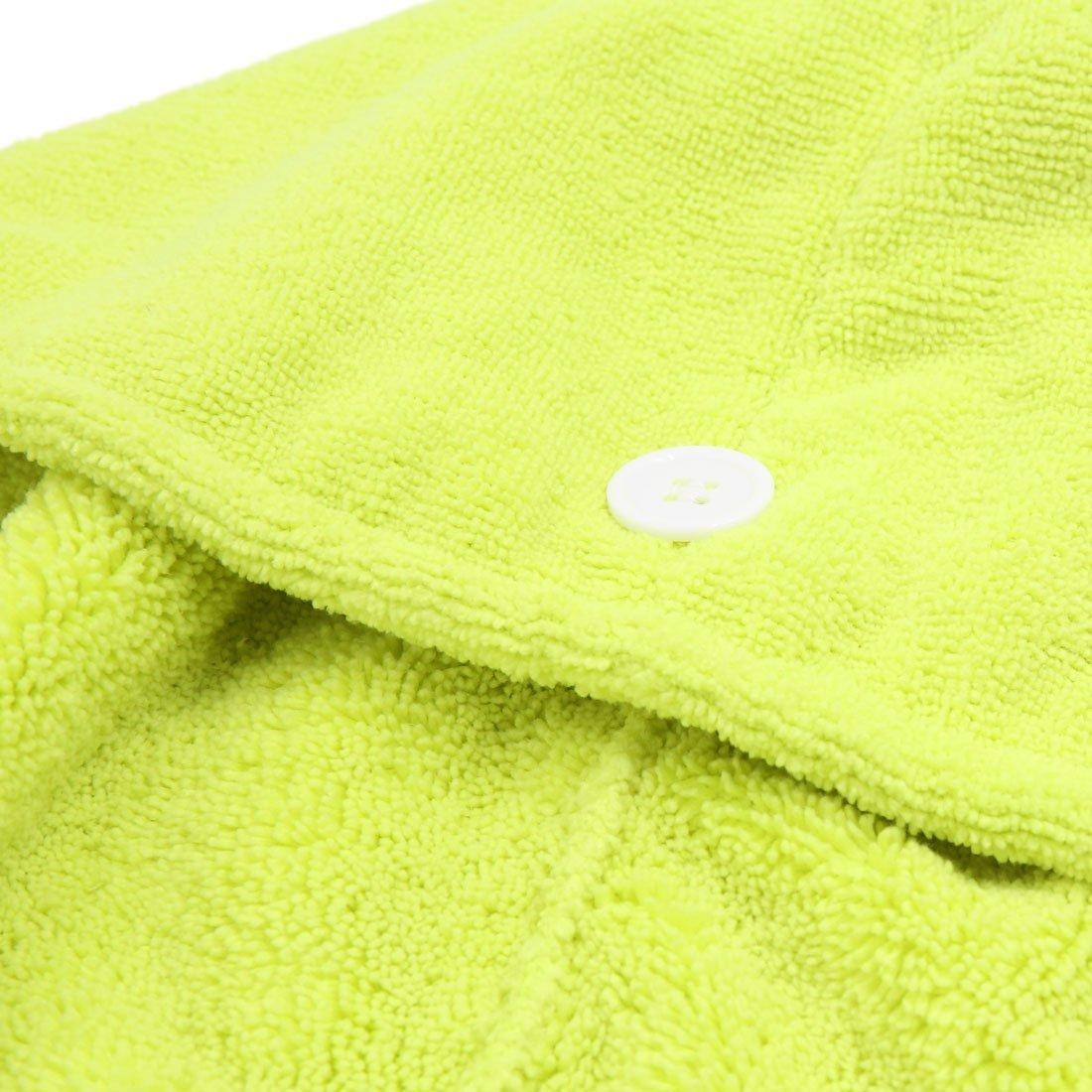 Amazon.com: eDealMax Verde poliéster botón de cierre elástico del Pelo de secado rápido de la toalla del casquillo del Sombrero Abrigo de la cabeza: Health ...