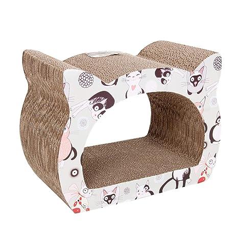 Nobleza - Rascador para Gatos de cartón. Soporte de Descanso con Forma de Gato con