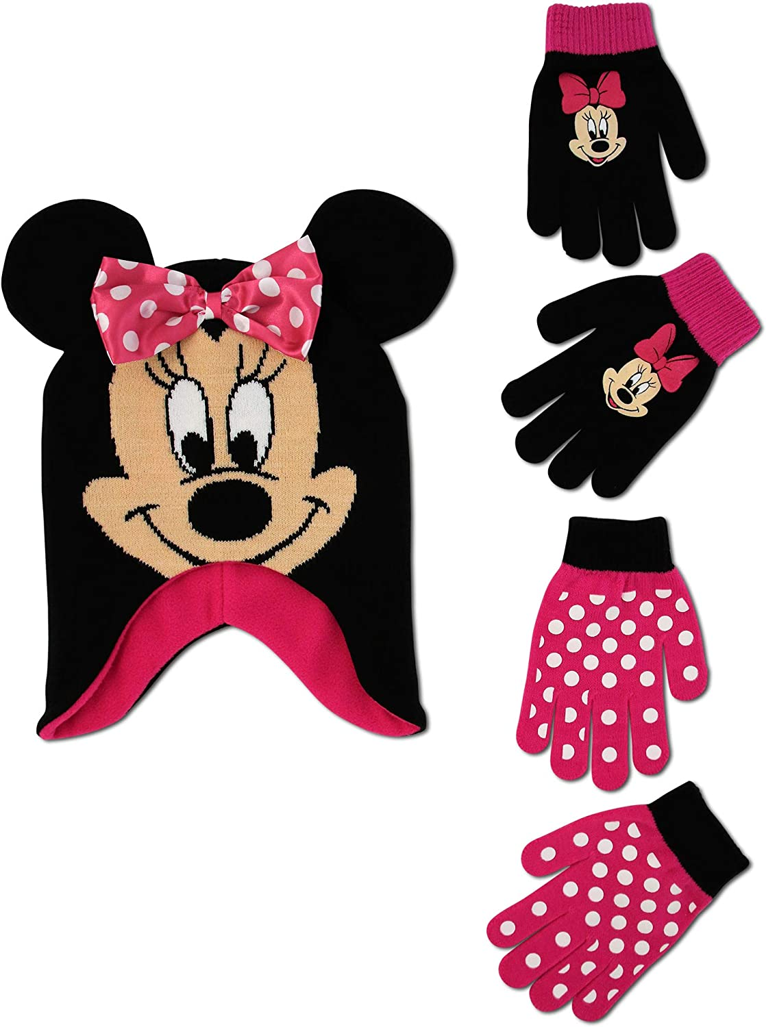 Disney Girls Minnie Mouse and Vampirina Winter Hat and 2 Pair Mitten or Glove Set (Toddler/Little Girl), Hot Pink Minnie Gloves 4-7