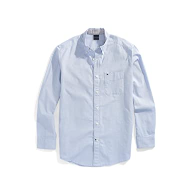e144b6975 Tommy Hilfiger Men's Adaptive Magnetic Button Shirt Regular Fit, Collection  Blue, Small