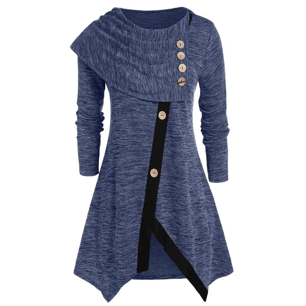 Shusuen Women Long Sleeve Hooded Asymmetric Hem Casual Tunic Button Decored Sweatshirt High Low Hem Pullover Blue by Shusuen_Clothes