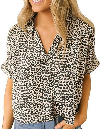 Oliviavan Camisetas de Mujer, Camiseta de Manga Corta de Mujer Verano Moda Estampado de Leopardo Cuello V Camisa de Solapa Tendencia Blusa Top Camiseta: Amazon.es: Ropa y accesorios
