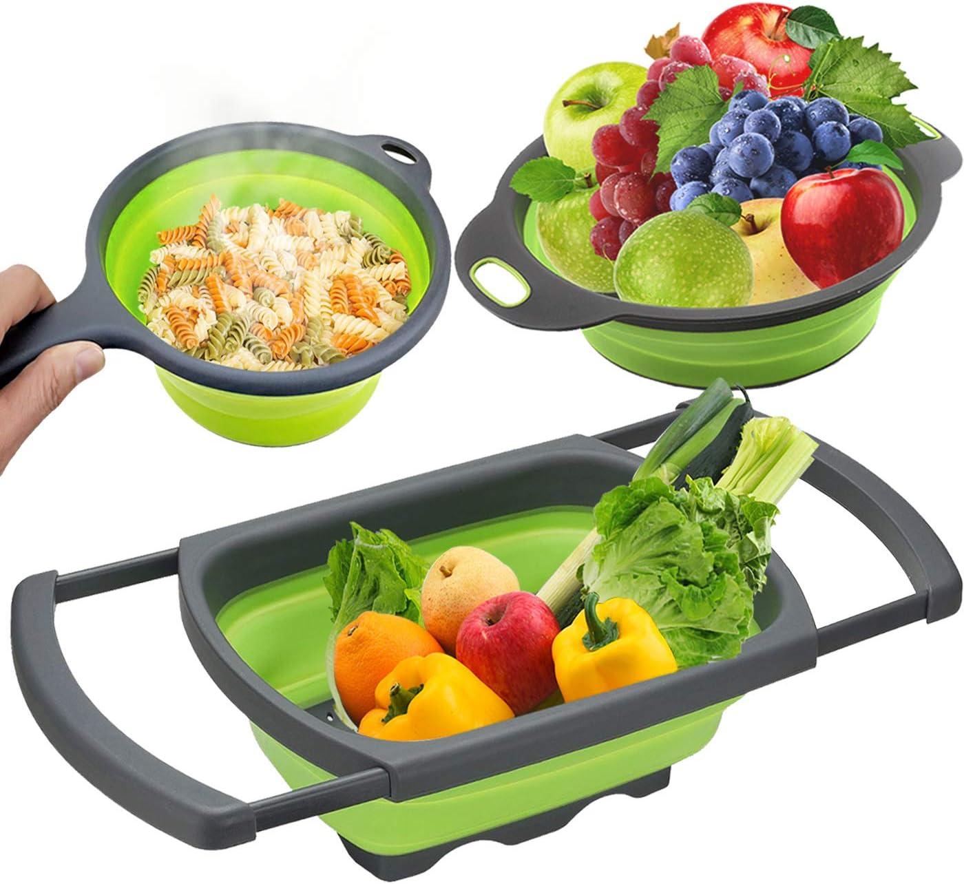 LTSGORY Silicone Colander, Collapsible Kitchen Food Grade Colander Set - 6 Quart Over The Sink Collander + 4-Quart Veggies/Fruit Basket and Colanders + 2-Quart Pasta Strainer With Handle 3-Packs