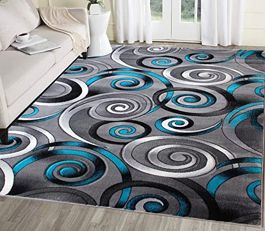 Masada Rugs, Turquoise Grey Modern Contemporary Woven Area Rug, Hand Carved 8 Feet X 10 Feet, Turquoise