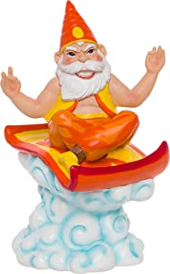 GreenLighting Hide Your Key Genie on a Magic Carpet Garden Gnome Outdoor Figurine - Hand Painted Funny Novelty Lawn Statue for Front Yards and Flowerbeds