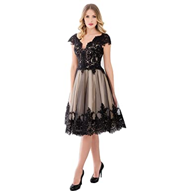 SHENLINQIJ Women Tea Length Lace Applique Evening Dresses V-Neck ...