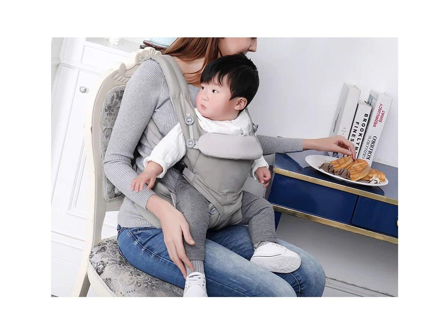 Peony red 360 Baby Carrier Multifunction Breathable Infant Carrier Backpack Kid Carriage Toddler Sling Wrap Suspenders,Omni Grey,OneSize