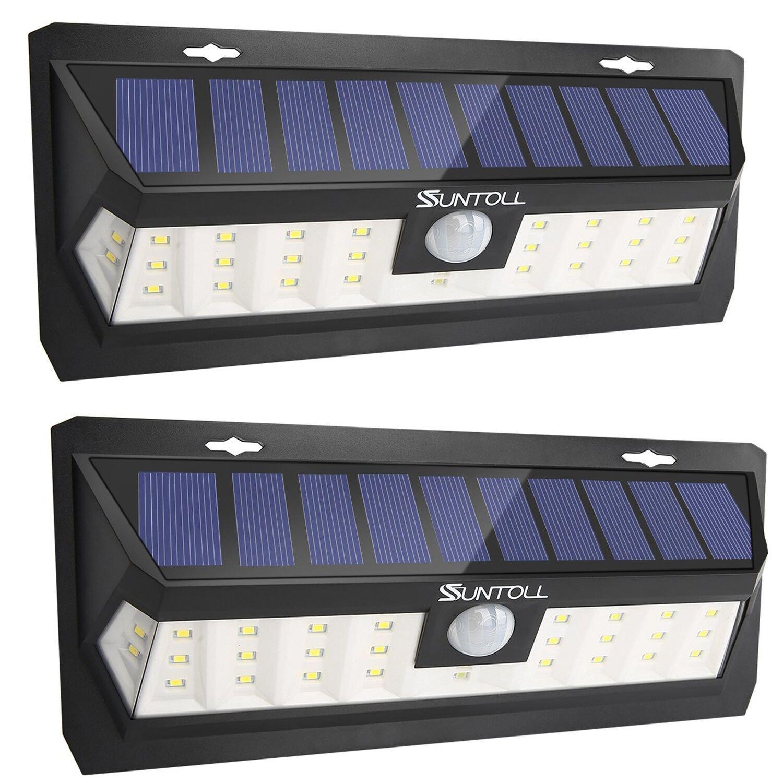 SUNTOLL Solar Lights Outdoor, Upgraded 30 LED Bright Outdoor Light, Adjustable Lighting Time 20s, 40s, 60s, IP65 Waterproof Motion Sensor Wide Angle Lighting Front Door, Patio, Garage - 2Pack