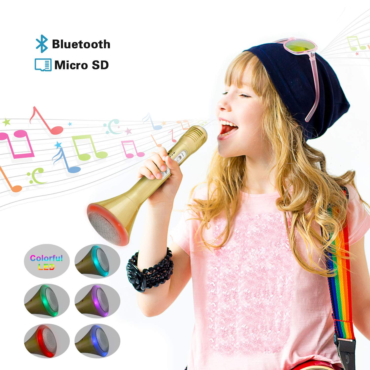 Fricon Birthday Gifts for Girls Age 3-12, Karaoke Machine for Girls Gifts for 3-12 Year Old Wireless Microphone System Bluetooth Microphone Karaoke Machine for Girls Age 3-12 Gold KMUSKM01 by Fricon (Image #1)