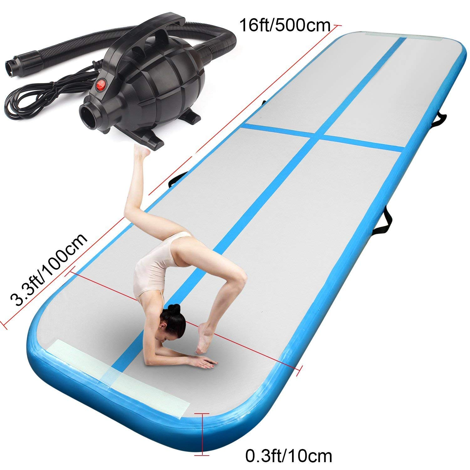 FBSPORT 9.84ft/13.12ft/16.4ft/19.68ft Training mat Inflatable Gymnastics airtrack with Electric Air Pump for Practice Gymnastics, Tumbling,Parkour, Home Floor (Blue, 16.5)