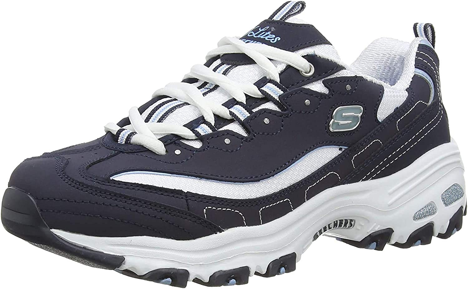 Skechers Sport Women's D'Lites Memory Foam Lace-up Sneaker,Navy/White,5 W US