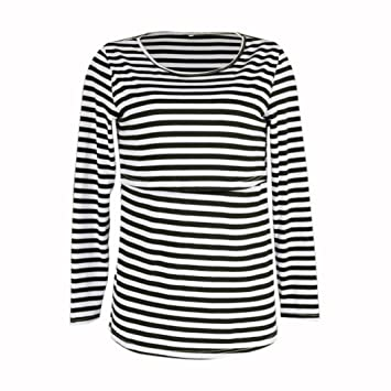 74cfd4c0a5 Amazon.com   Womens Maternity Classic 3 4 Side Ruched T-Shirt Tops Striped  Pregnancy Clothes (XL