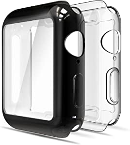 Simpeak Soft Screen Protector Bumper Case Compatible with Apple Watch 42mm Series 3 Series 2, Pack of 2, All Around, Clear + Plated Black