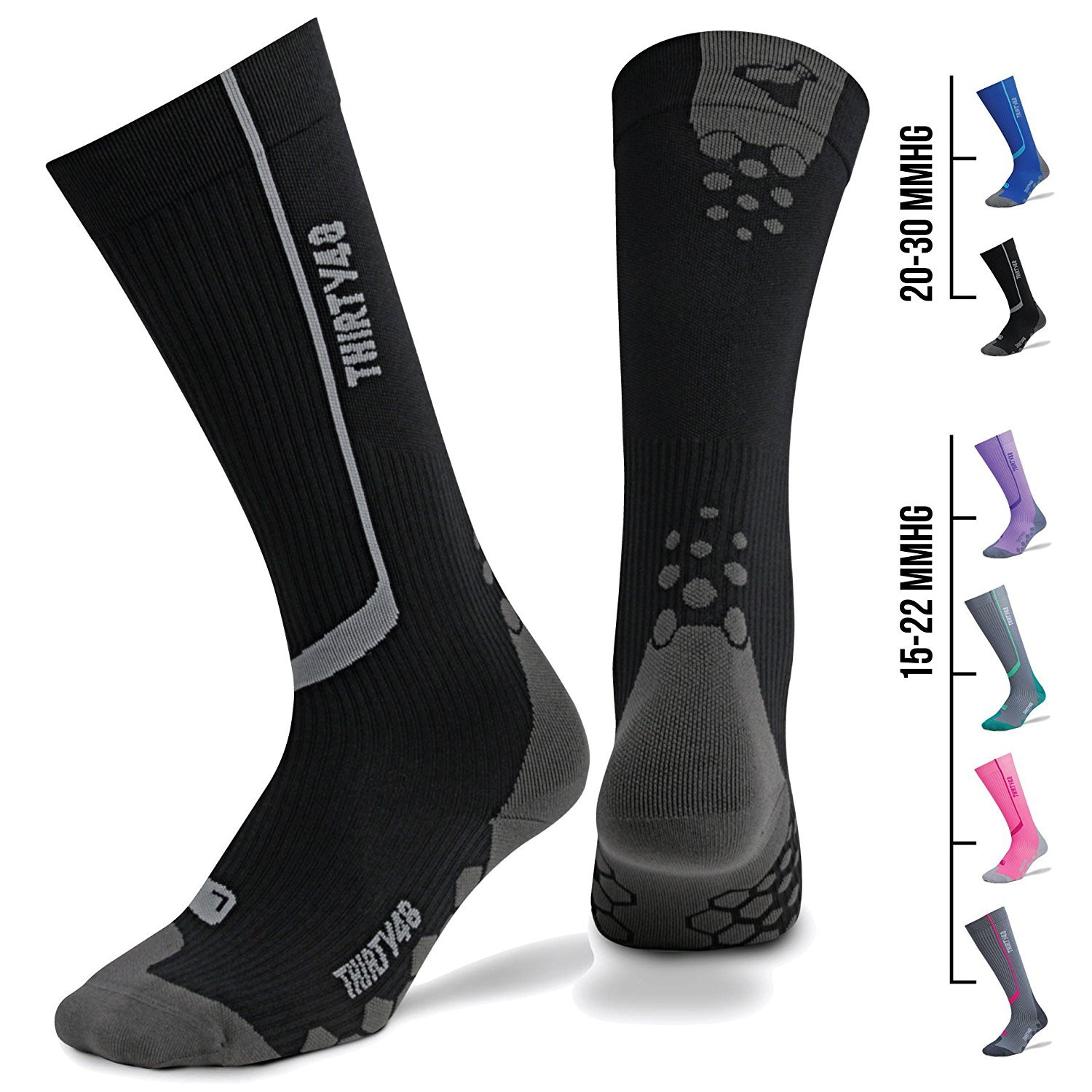 Thirty48 -''The Sock Geeks'', CS Series Calf/Shin Splint Guard Graduated Compression Sleeves-Sock ,Black/Gray ,Large