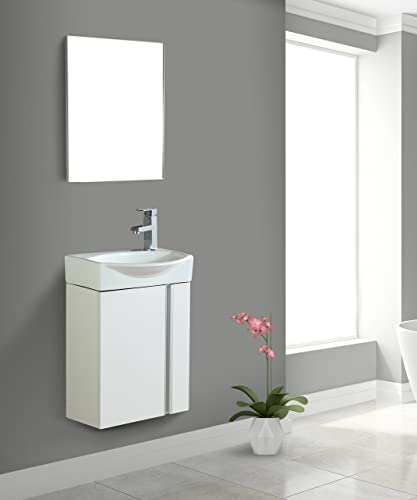 Fine Fixtures Compacto Small Bathroom Vanity Set With Sink -Wall-Hung Cabinet- Sink top, And Mirror Included White