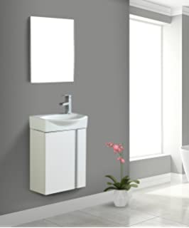 Fine Fixtures Compacto Small Bathroom Vanity Set With Sink Wall Hung Cabinet