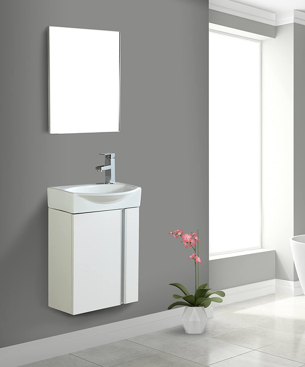 . Fine Fixtures Compacto Small Bathroom Vanity Set With Sink  Wall Hung  Cabinet  Sink top  And Mirror Included  White
