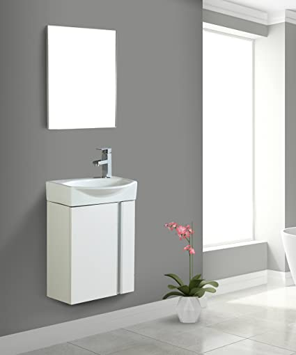 Fine Fixtures Compacto Small Bathroom Vanity Set With Sink Wall