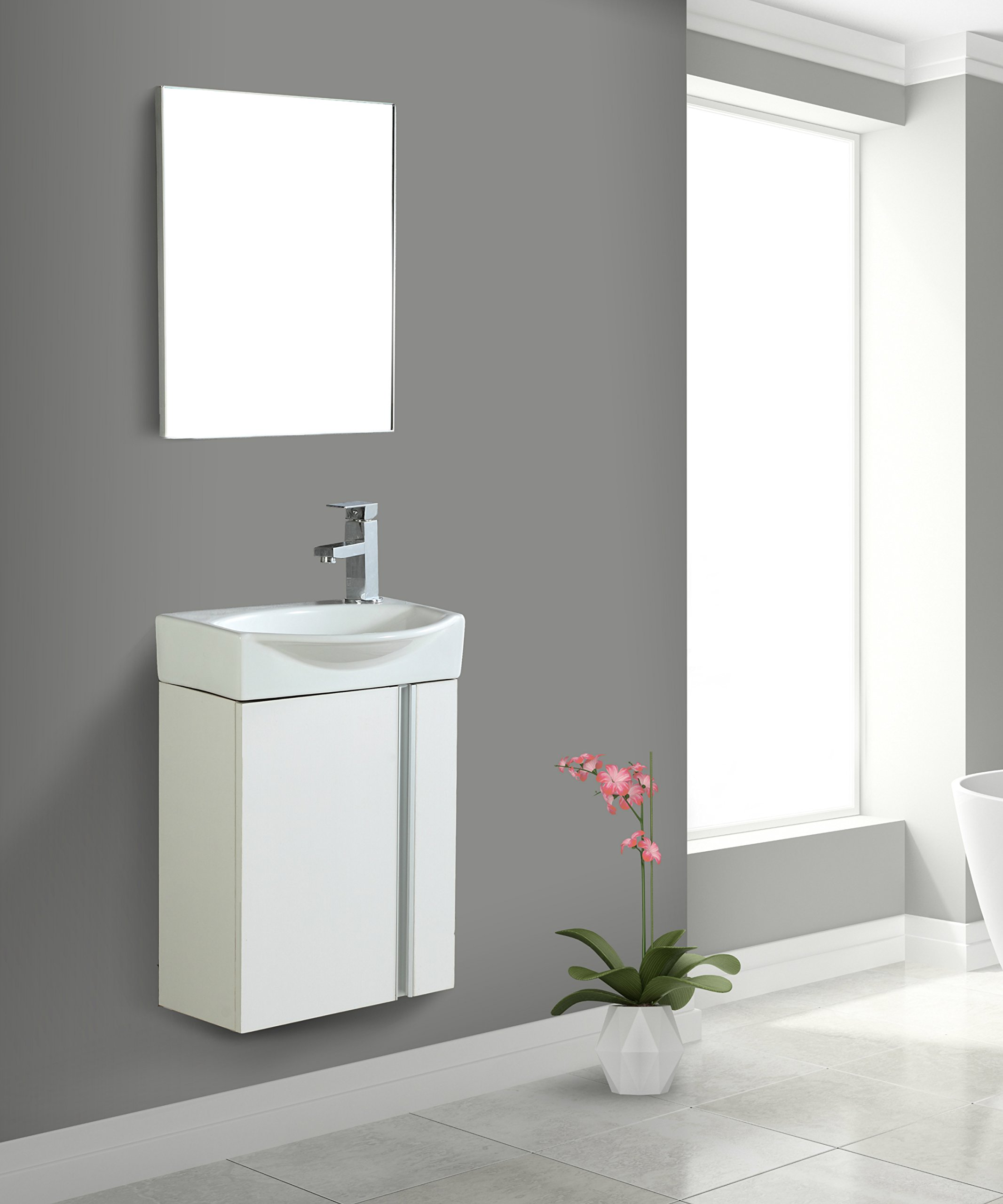 Fine Fixtures Compacto Small Bathroom Vanity Set With Sink -Wall-Hung Cabinet- Sink top, And Mirror Included (White) by Fine Fixtures