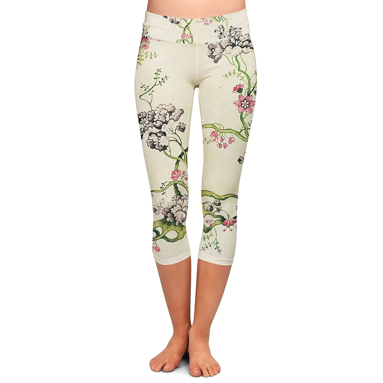 Vintage Florals Yoga Leggings Capri 3//4 Length Low Waist