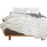Hanacat 布団カバー セミダブル 4点セット 掛け布団カバー ボックスシーツ 枕カバー 洋式 ベッド用 ボーダー柄 ホワイト