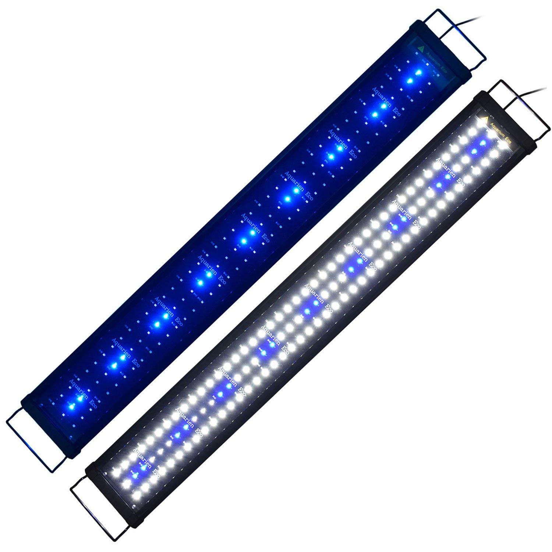 2835SMD 26W 90120cm 34ftAquarium Light AquarienEco RGB Full Spectrum Aqua Plant Fish Tank Lamp LED Hoods Lighting Suitable for Plants and Fish Keeping (6ft6.6ft, White+bluee 144)