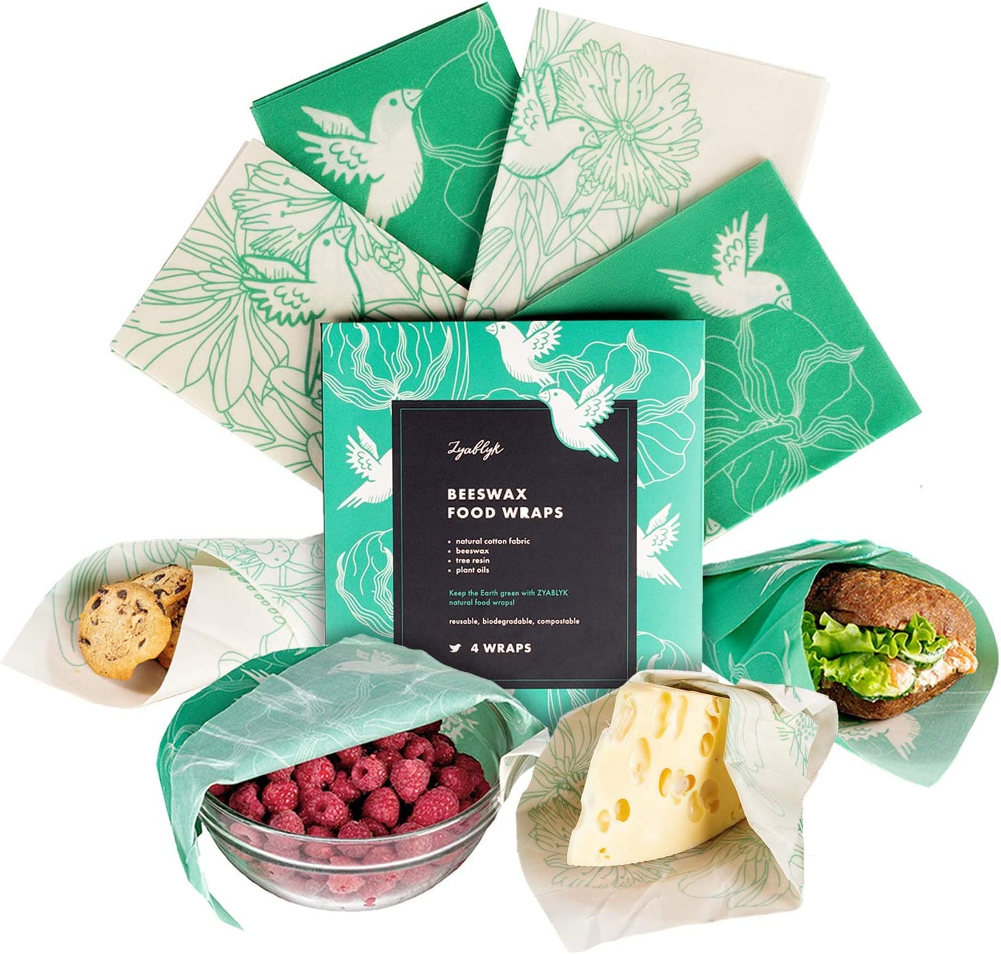 Beeswax Wrap Assorted 4 Large Pack: 2 Large, 2 Medium, Zero Waste Kitchen Food Storage, Reusable Food Wraps, Eco Alternative To Plastic Storage Bags