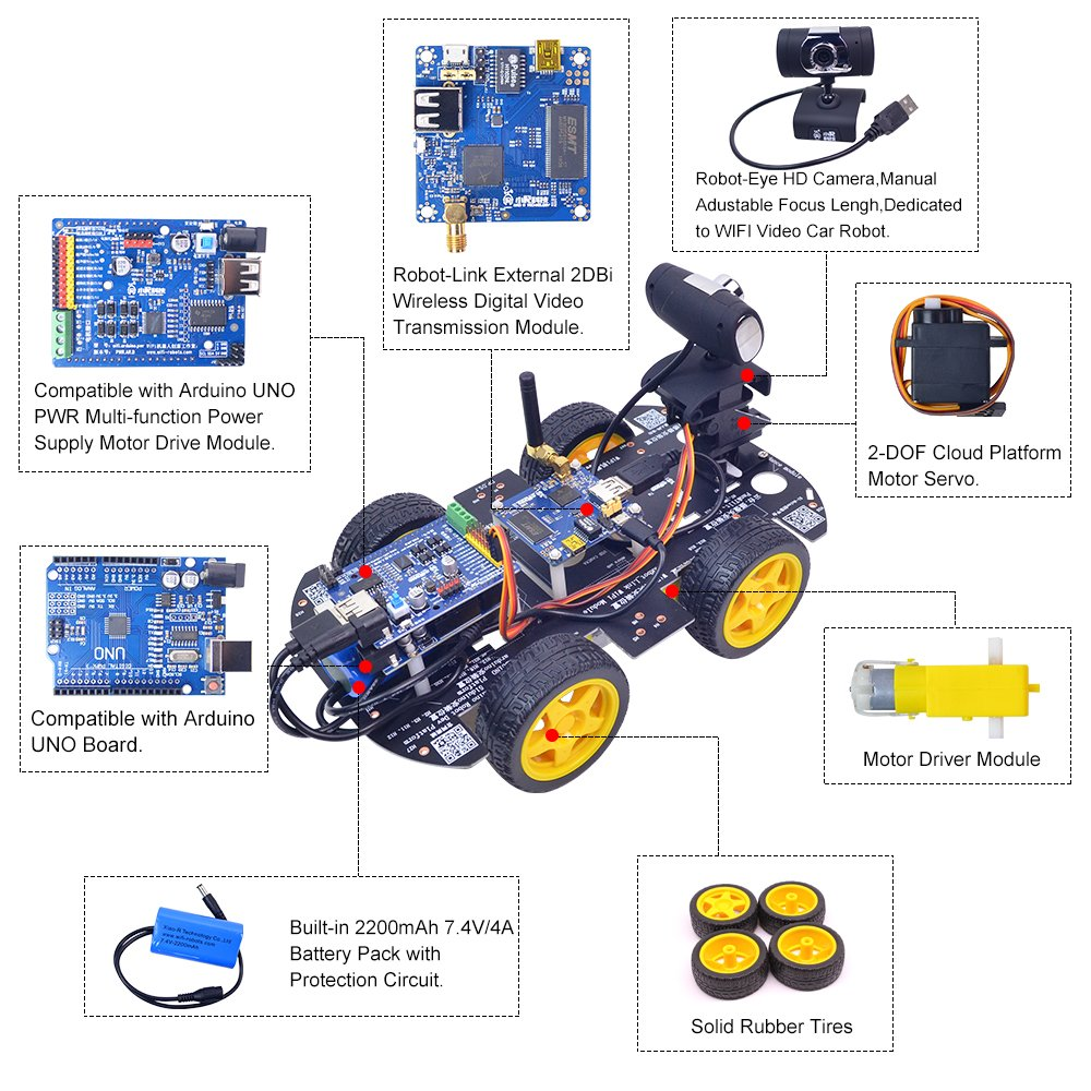 XiaoR Geek DS WiFi Smart Robot Car Kit for Arduino UNO R3,Remote Control HD Camera FPV Robotics Learning & Educational Electronic Toy by XiaoR Geek (Image #4)