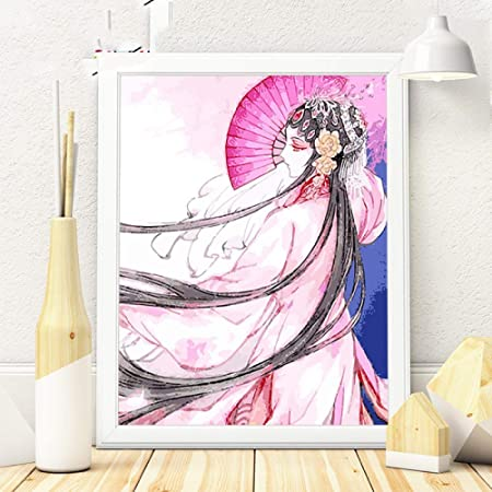 WSNDGWS Cute Anime Peking Opera Personajes Lienzo Pintura ...