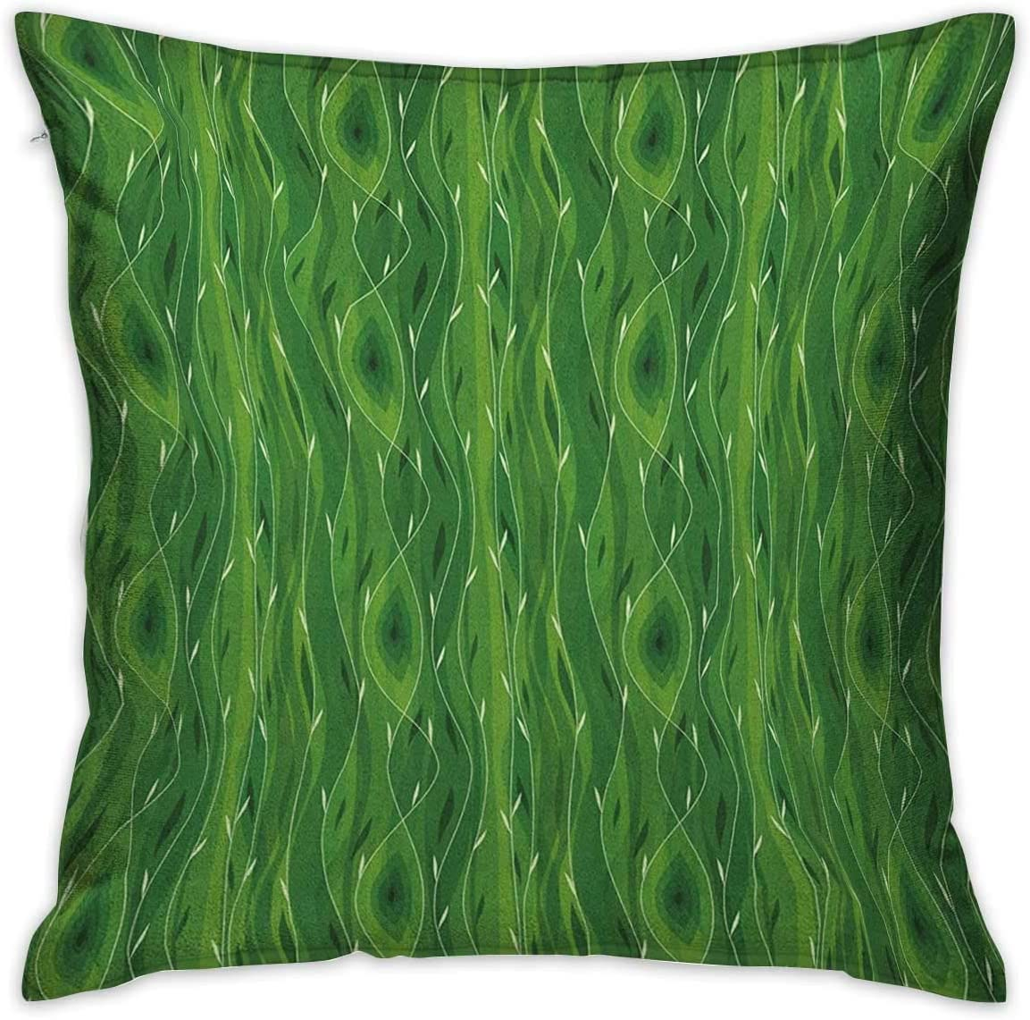 Green Square Standard Pillowcase Retro Spring Freshness Themed Abstract Leaf Design Vertical Wavy Twigs Fern Green Pale Green Cushion Cases Pillowcases for Sofa Bedroom Car W17.7 x L17.7