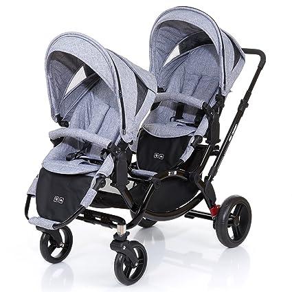 ABC Diseño Zoom – Carrito doble de gemelos y hermanos – Graphite Black, incluye 2 accesorios de coche ...