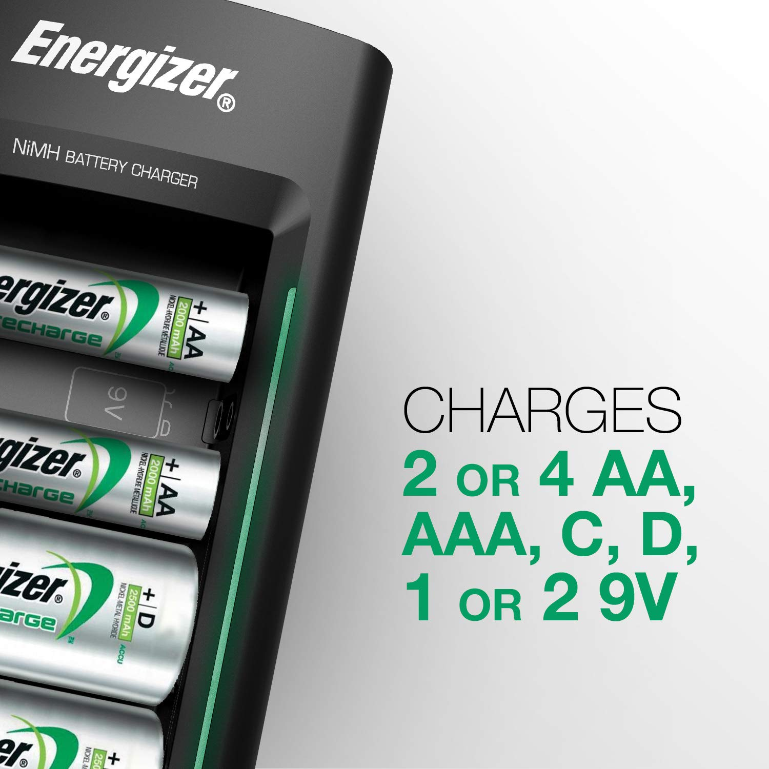 Rechargeable Battery Charger by Energizer, for CD AA AAA 9V Ni-MH Rechargeable Batteries with LED Indicator and Overcharge Prevention Function